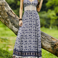 2016 Summer New Style Suspenders Printed Flowers Lace Long Dress