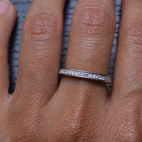 Princess White CZ 925 Solid Sterling Silver Wedding Band