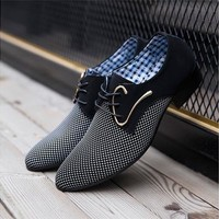 ( White, Blue)Popular Men's Lace-up Casual Pointed Trendy Leather Shoes  [8833496780]