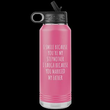Funny Stepmom Mother's Day Gift Step Mom Water Bottle Insulated Tumbler 32oz BPA Free
