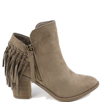 Kyra Chucky Heel Suede Fringe Bootie- Taupe