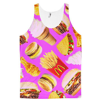 McDonalds Fast Food Collage Vanilla Ice Cream Cone Taco Burger Hamburger Cheeseburger French Fries Chicken Wing Breakfast Biscuit Dye Sublimation All Over Print 3D Full Print Cotton Polyester Unisex Novelty Purple Red Brown White Yellow & Beige Tank Top