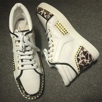Christian Louboutin CL Lou Spikes Style #2192 Sneakers Fashion Shoes Best Deal Online