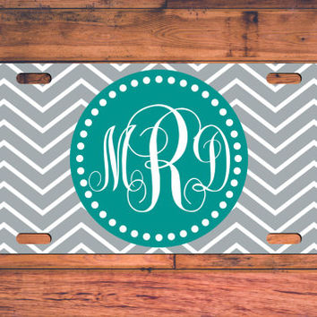 Grey and Teal Chevron Monogrammed License Plate Monogram Car Tag Custom Car Tag Car Plate Personalized Gift Customize your own!