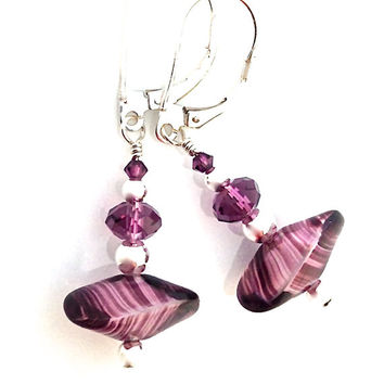 Sterling Silver Purple Earrings, Leverback Earrings for Women, Deep Purple Glass, Drop Earring, Unusual Jewelry