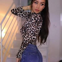 LEOPARD PRINT MOCK TURTLENECK LONG SLEEVE BODYSUIT