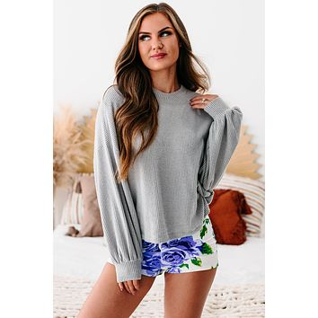 Stand Tall Ribbed Bubble Long Sleeve Top (Grey)