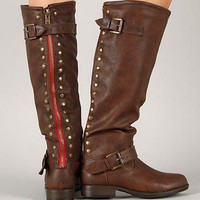 Brown Red Zipper Riding Boots