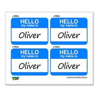 Oliver Hello My Name Is - Sheet of 4 Stickers