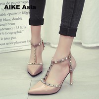 SHOES HEELS Women Pumps Summer Fashion Sexy Rivets Pointed Toe Wedding Party High Heeled Shoes Woman Sandals