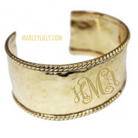 Monogrammed Wide Hammered Gold Cuff Bracelet | Marley Lilly