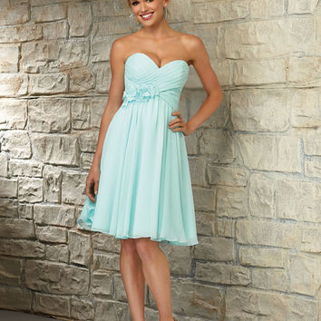 Sweetheart Chiffon Morilee Bridesmaid Dress with Flower Detail   Style 31053   Morilee
