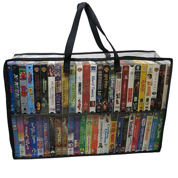 Evelots VHS Storage Bag-Movie/Video Tape Organizer-Handles-Holds 50 Each-No Dust