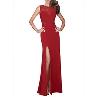 WOMENS RED LACE SPLIT LONG EVENING WEDDING CUT OUT BODYCON PROM DRESSES