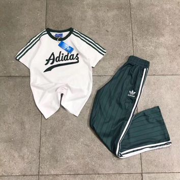 ADIDAS Women Fashion Sport Shirt Top Tee Trousers Pants Trousers Set Two Piece