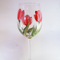 Hand Painted Tulip Floral WIne Glass