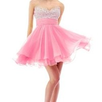 Faironly Crystal Mini Short Cocktail Homcoming Prom Dress
