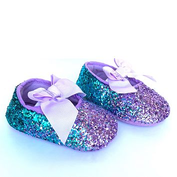 Glitter Baby Shoes - Lilac Lavender Teal Ombre Flower Girl Shoes