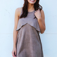 Keeper Of Suede Dress {Beige}