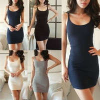Women Stretchy Camisole Spaghetti Strap Long Tank Top Slip Mini Dress 4Color SIZE XXL is available Now = 1931761284