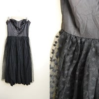 Cool Tulle - Vintage 1950s Black Mesh Polka Dot Tulle Skirt party Dress