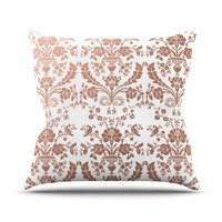 "KESS Original ""Baroque Rose Gold"" Abstract Floral Throw Pillow"