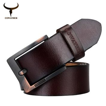 COWATHER Newest designer belts men high quality cow genuine leather vintage pin buckle ceinture mens belts luxury