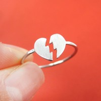 Unbreak My Heart | Broken Heart Shaped Adjustable Ring in Silver | DOTOLY
