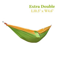 Weanas® Extra Size Parachute Nylon Lightweight Portable Double Deluxe Outfitters Hammock, Ideal For Camping, Hiking, Backpacking, Kayaking & Travel, Garden (Yellow&Light Green)
