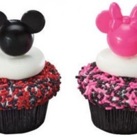 Mickey and Minnie Mouse Pink and Black Cupcake Picks - 12 ct