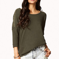 FOREVER 21 Spiked Frech Terry Sweatshirt Olive/Gold Large