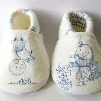 Little Piggies Baby Shoes- ON SALE: White and Blue Nursery Rhyme Characters Baby Shoes, Choose your Own Characters