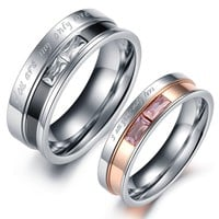 """Geminis Jewelry Black&rose Gold """"You Are/i Am My/your Only Love"""" W/Zircon Stainless Steel Couple Ring(With Free Gift Box)"""