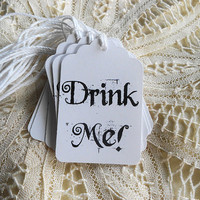 Alice in Wonderland Drink Me Tags for Mad Tea Party Wine Glasses Kids Lunches Black and White Gift Tags Hang Tags Party Favors Decor