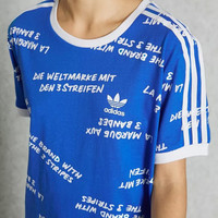 adidas Originals Letter Print Blue Tee T-Shirt