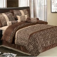 7Pcs Queen Giraffe/Zebra Micro Fur Comforter Set Brown