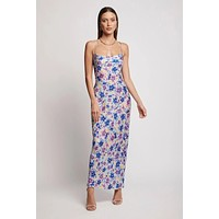 fhotwinter19 new women's sexy print lace-up collar halter long dress