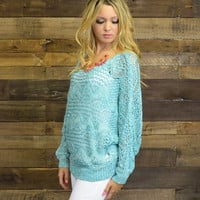 Dazzled By Night Mint Open Knit Sweater