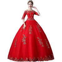 Long Ball Gown Cheap Boat Neck Half Sleeve Red Elegant Appliques Plus Size Prom Dresses 2016 Mother and Daughter Dresses B20