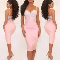 Pink Lace Bodycon Straps Homecoming Dresses,Backless Knee Length Homecoming Dresses with Applique