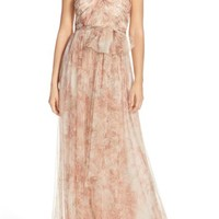 Jenny Yoo 'Annabelle' Print Tulle Convertible Column Gown | Nordstrom