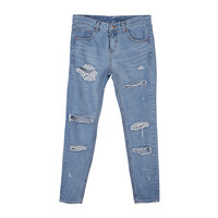 Destroyed Baggy Denim Pants by Stylenanda