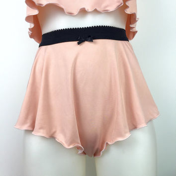 Peach tall French knickers - high waisted pastel lingerie