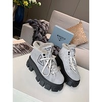PRADA  Trending Women's men Leather Side Zip Lace-up Ankle Boots Shoes High Boots