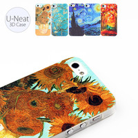 Cell Mobile Phone Case For iPhone 4 4s SE 5 5s 6 6s plus Van Gogh Starry Night 3D DIY Painting Hard Transparent Back Cover Skin
