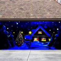 Christmas Garage Door Cover Christmas Tree Banners 3d Holiday Outside Decorations Outdoor Decor for Garage Door G73