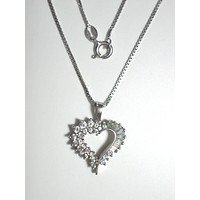 "CZ Enhanced Sterling Silver Heart Pendant w/ 18"" 0.8 mm Sterling Silver Box Chain"