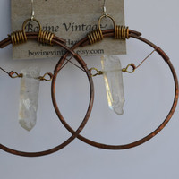 Hand hammered and formed The Aurora Hoop / 12g dark antiqued copper and solid warm brass ear hoops with wrapped aurora quartz dangles