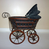 Vintage Doll Carriage Victorian Buggy Rattan Wicker Stroller