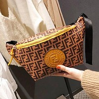 FENDI Newest Popular Women Men Retro Leather Canvas Waist Bag Shoulder Bag Crossbody Satchel Brown